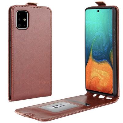 Samsung Galaxy A71 hoesje, Flipcase, Bruin