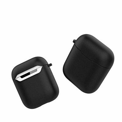 Siliconen TPU hoesje voor Apple Airpods met karabijnhaak, Zwart