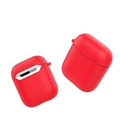 Siliconen TPU hoesje voor Apple Airpods met karabijnhaak, Rood