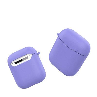 Siliconen TPU hoesje voor Apple Airpods met karabijnhaak, Paars