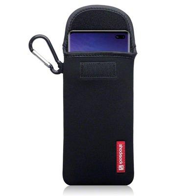 Hoesje voor Samsung Galaxy Note 10 Lite, Shocksock neopreen pouch met karabijnhaak, insteekhoesje, zwart