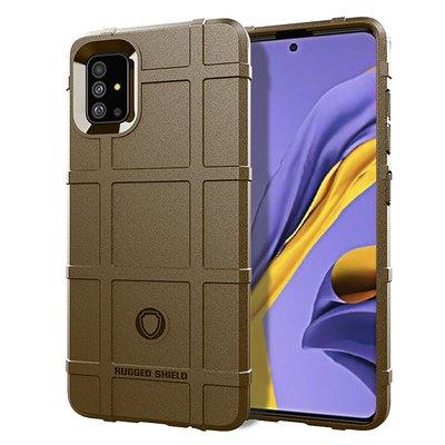 Samsung Galaxy A71 hoesje, Rugged shield TPU case, Bruin