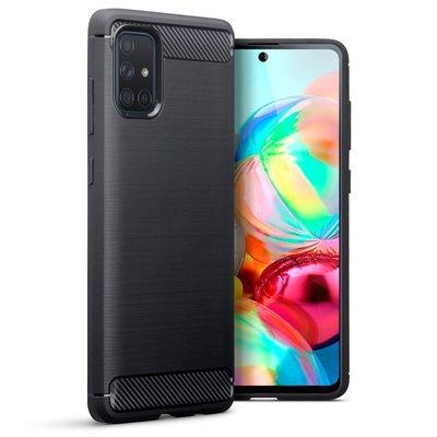 Samsung Galaxy A71 hoesje, Gel case geborsteld metaal en carbonlook, Zwart