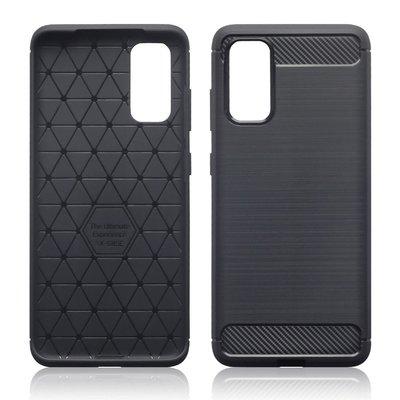 Samsung Galaxy S20 hoesje, Gel case geborsteld metaal en carbonlook, Zwart