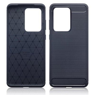 Samsung Galaxy S20 Ultra hoesje, Gel case geborsteld metaal en carbonlook, Navy blauw