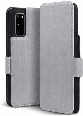 Samsung Galaxy S20 hoesje, MobyDefend slim-fit extra dunne bookcase, Grijs