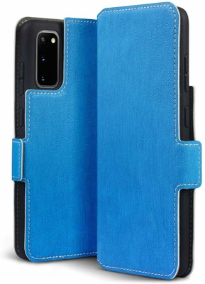 Samsung Galaxy S20 hoesje, MobyDefend slim-fit extra dunne bookcase, Blauw