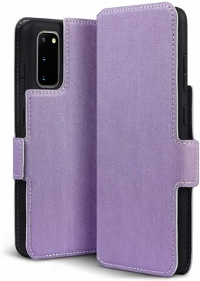 Samsung Galaxy S20 hoesje, MobyDefend slim-fit extra dunne bookcase, Paars