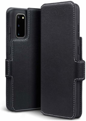Samsung Galaxy S20 hoesje, MobyDefend slim-fit extra dunne bookcase, Zwart