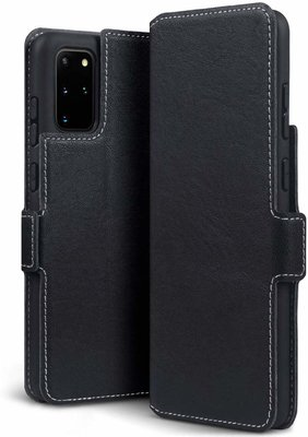Samsung Galaxy S20 Plus (S20+) hoesje, MobyDefend slim-fit extra dunne bookcase, Zwart