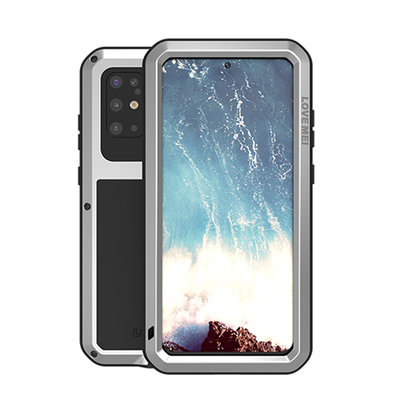 Samsung Galaxy S20 Plus (S20+) hoes, Love Mei, Metalen extreme protection case, Zilver