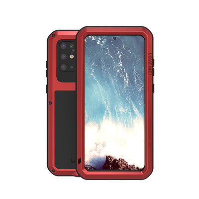 Samsung Galaxy S20 Plus (S20+) hoes, Love Mei, Metalen extreme protection case, Rood