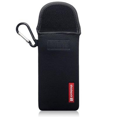 Hoesje voor OnePlus 8 Pro, Shocksock neopreen pouch met karabijnhaak, insteekhoesje, zwart