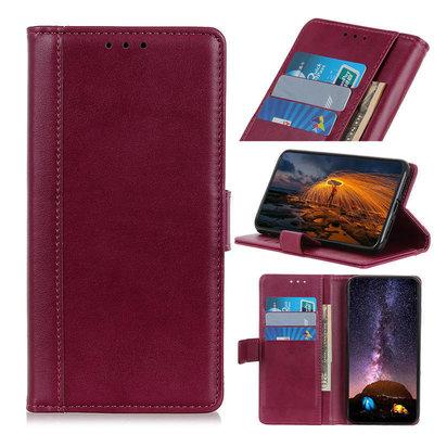 OnePlus 8 hoesje, Luxe wallet bookcase, Rood-paars