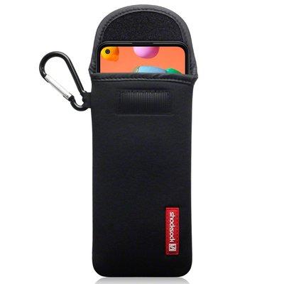Hoesje voor Samsung Galaxy M11 / A11, Shocksock neopreen pouch met karabijnhaak, insteekhoesje, zwart