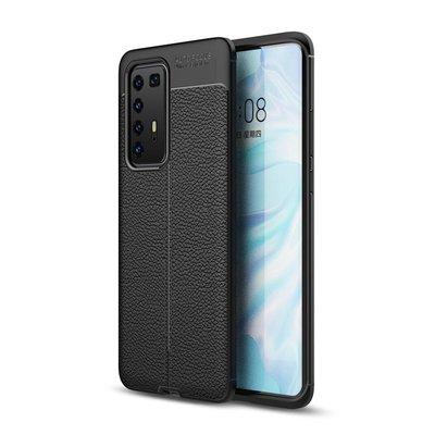 Huawei P40 Pro hoesje, Gel case lederlook, Zwart