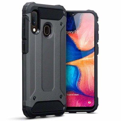 Samsung Galaxy A20e hoesje, dubbel gelaagde pantsercase, donkergrijs