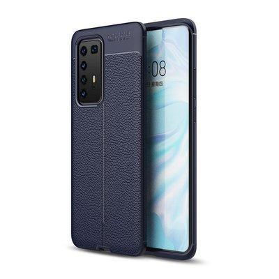 Huawei P40 Pro hoesje, Gel case lederlook, Navy blauw