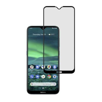 Nokia 2.3 screenprotector, Full screen tempered glass (glazen screenprotector), Zwarte randen