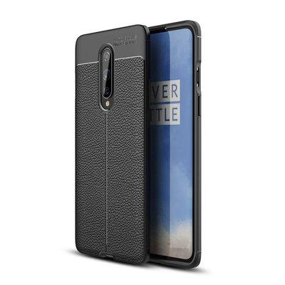 OnePlus 8 hoesje, Gel case lederlook, Zwart