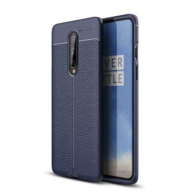 OnePlus 8 hoesje, Gel case lederlook, Navy blauw
