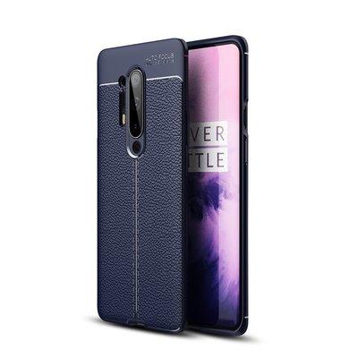 OnePlus 8 Pro hoesje, Gel case lederlook, Navy blauw
