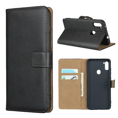 Samsung Galaxy M11 / A11 hoesje, 3-in-1 bookcase, zwart-bruin