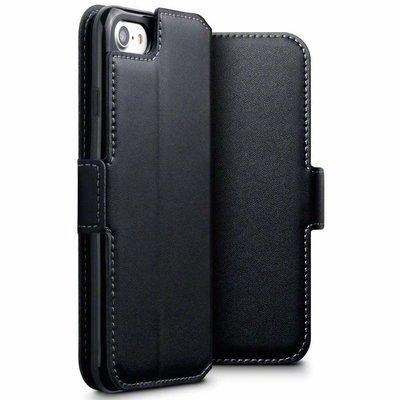 Apple iPhone SE (2020) / iPhone 7 / iPhone 8 hoesje, MobyDefend slim-fit echt leren bookcase, Zwart
