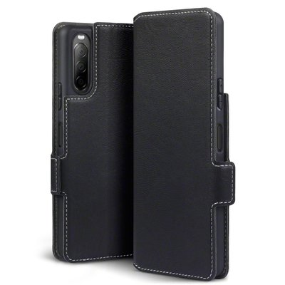 Sony Xperia 10 II hoesje, MobyDefend slim-fit extra dunne bookcase, Zwart