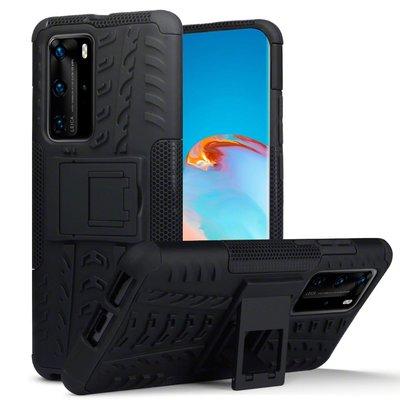 Huawei P40 Pro hoesje, Pantsercase met standaard, Zwart