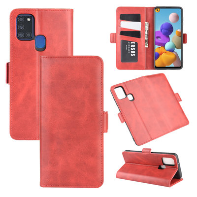 Samsung Galaxy A21s hoesje, Luxe wallet bookcase, Rood