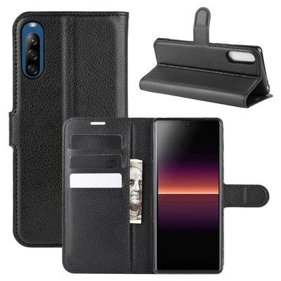 Sony Xperia L4 hoesje, Wallet bookcase, Zwart