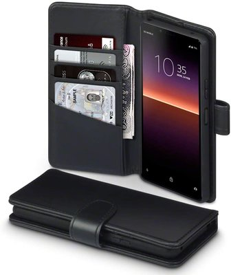 Sony Xperia 10 II hoesje, MobyDefend luxe echt leren wallet bookcase, Zwart