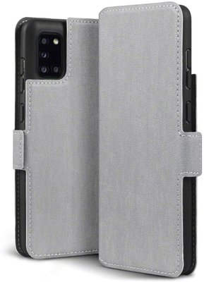 Samsung Galaxy A31 hoesje, MobyDefend slim-fit extra dunne bookcase, Grijs