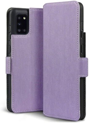 Samsung Galaxy A31 hoesje, MobyDefend slim-fit extra dunne bookcase, Paars