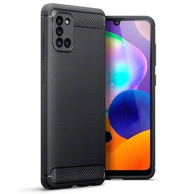Samsung Galaxy A31 hoesje, Gel case geborsteld metaal en carbonlook, Zwart