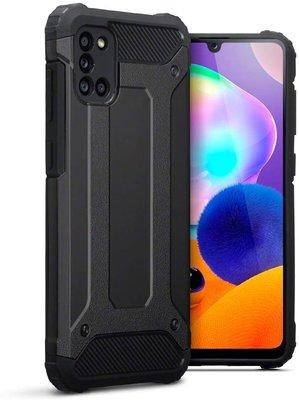 Samsung Galaxy A31 hoesje, Dubbel gelaagde pantsercase, Zwart