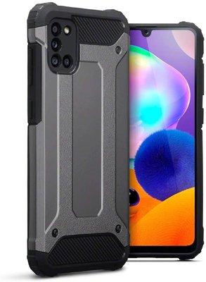 Samsung Galaxy A31 hoesje, Dubbel gelaagde pantsercase, Grijs