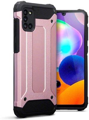 Samsung Galaxy A31 hoesje, Dubbel gelaagde pantsercase, Rosé goud