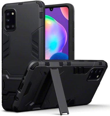 Samsung Galaxy A31 hoesje, Dubbel gelaagde pantser case met standaard, Zwart