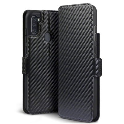 Samsung Galaxy M11 / A11 hoesje, MobyDefend slim-fit carbonlook bookcase, Zwart