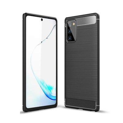 Samsung Galaxy Note 20 hoesje, Gel case geborsteld metaal en carbonlook, Zwart