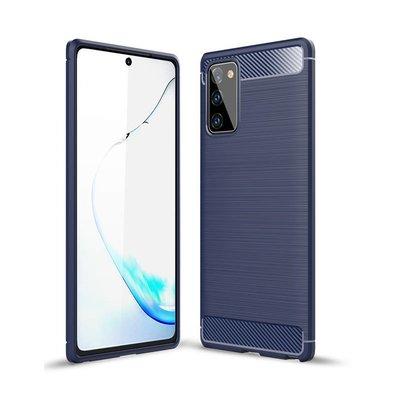 Samsung Galaxy Note 20 hoesje, Gel case geborsteld metaal en carbonlook, Navy blauw