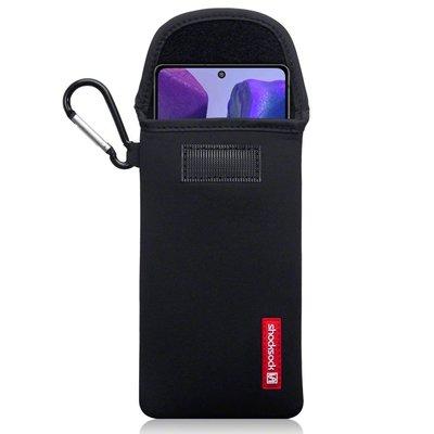 Hoesje voor Samsung Galaxy Note 20, Shocksock neopreen pouch met karabijnhaak, insteekhoesje, zwart