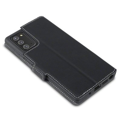 Samsung Galaxy Note 20 hoesje, MobyDefend slim-fit extra dunne bookcase, Zwart