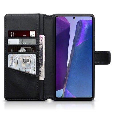 Samsung Galaxy Note 20 hoesje, MobyDefend luxe echt leren wallet bookcase, Zwart