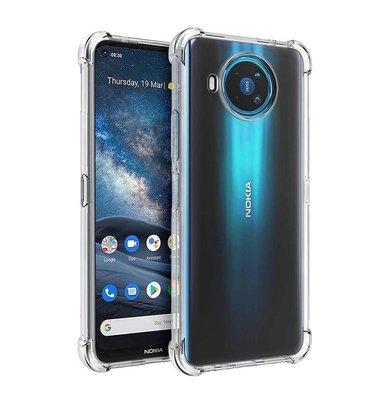 Nokia 8.3 hoesje, Transparante Shock proof gel case met verstevigde hoeken, Volledig doorzichtig