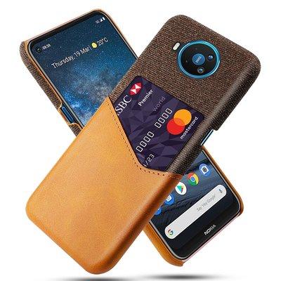 Nokia 8.3 hoesje, Lederen hardcase met vakje voor pasje, Bruin