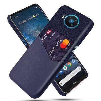 Nokia 8.3 hoesje, Lederen hardcase met vakje voor pasje, Blauw