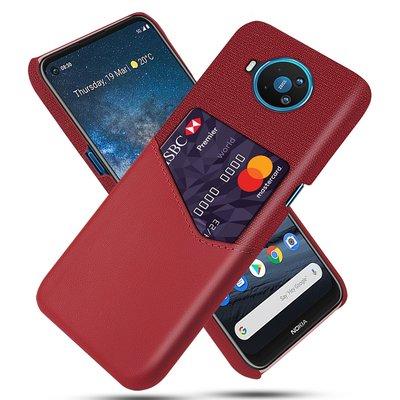 Nokia 8.3 hoesje, Lederen hardcase met vakje voor pasje, Rood
